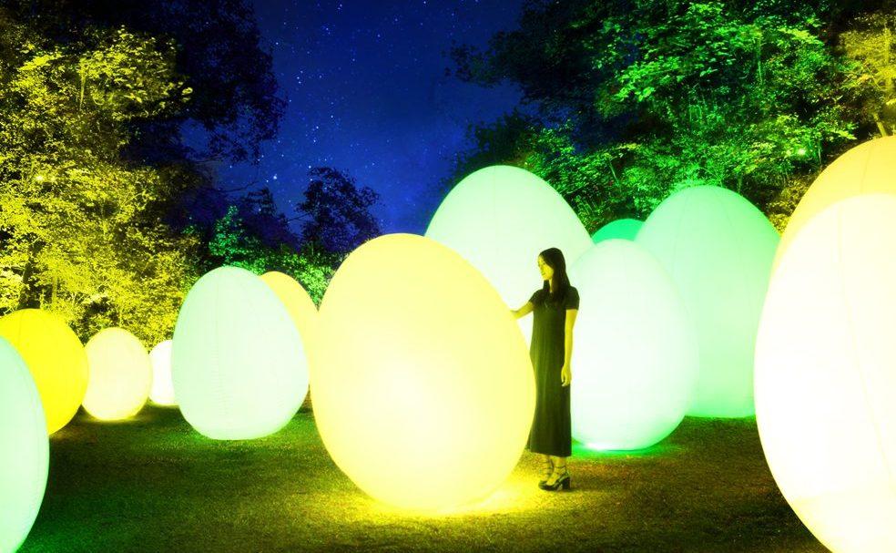 12月1日(土)から「チームラボ 森と湖の光の祭」を開催 埼玉県飯能市にオープンする「メッツァビレッジ」の宮沢湖と湖畔の森を  インタラクティブな光のアート空間に。