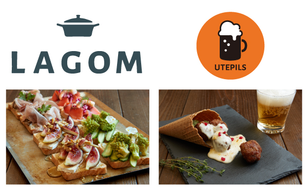 "Open store ""LAGOM"" (La Rubber), an open sand ""Smooblo"" open in Scandinavia, and ""UTEPILS"", an outdoor restaurant open"