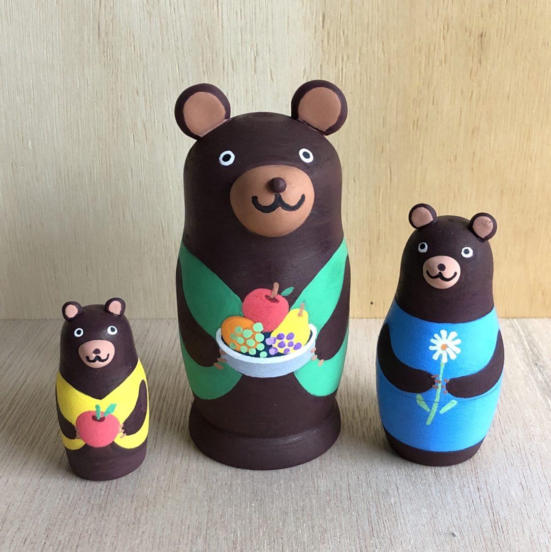 3匹のクマリョーシカ作り&森のこびとの指人形作り 1