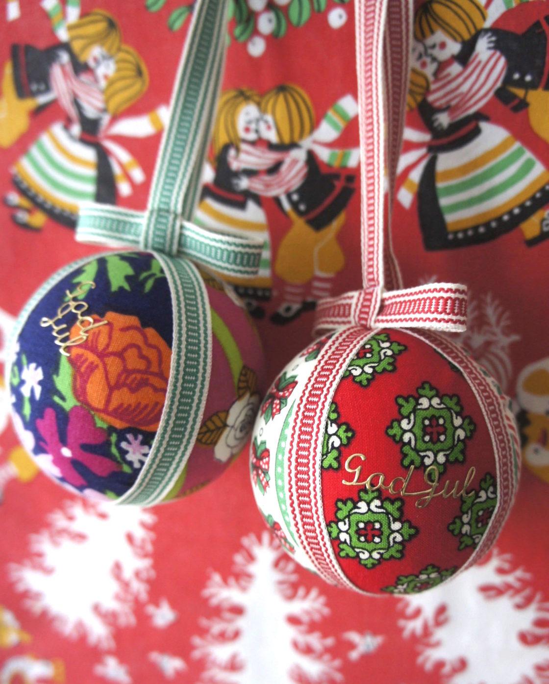【予約終了】<br>北欧ヴィンテージ生地で作る、クリスマスのオーナメントボール 2