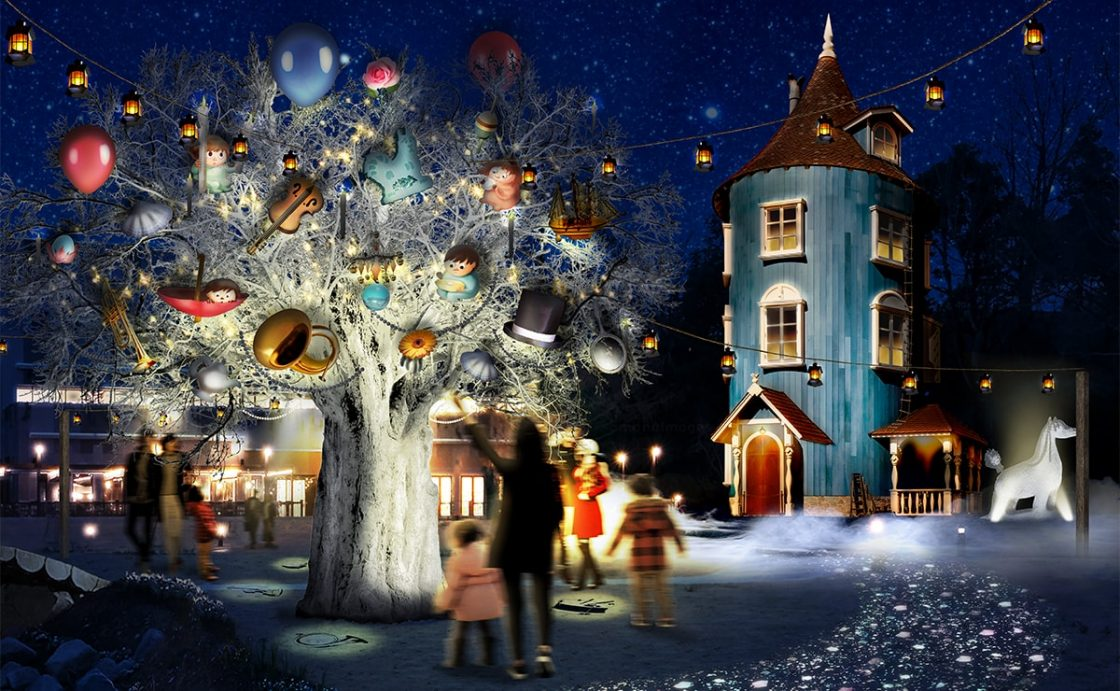 """""""WINTER WONDERLAND in MOOMINVALLEY PARK EMPOWERED BY CALAR.ink""""  -Moominvalley's winter """"night walk"""" Sound and illumination """"Moominvalley Park"""" first winter-1"""